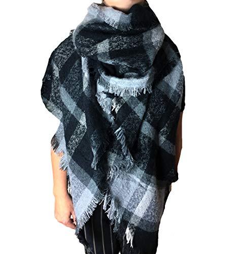 Damen XXL Winter Schal riesig viele Farben extrem flauschig dick Baumwolle Poncho Karo Halstuch Cape Scarf Blogger Herbst kariert Fransen (AZ-43) -
