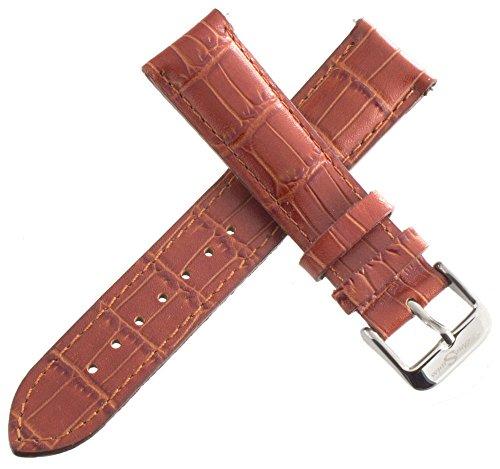 Techno Swiss Herren Alligator geprägt braun echtes Leder Uhrenarmband silber Schnalle 20mm