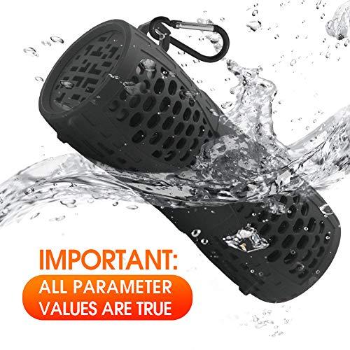 Tingda Bluetooth Lautsprecher Wasserdicht, Outdoor Tragbare IP66 Dusche Bluetooth Box, 12W bass Sound, AUX-Anschluß, Freisprechanlage, Ingebauten Mikrofons, für Fahrrad, Bad, Garten, Reisen - Schwarz