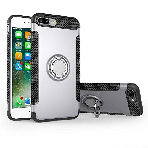UKDANDANWEI Apple iPhone 7 Plus Hülle mit 360 Grad Full Body Ring Ständer, Hybrid Dual Layer Defender Handyhülle Case [Shock Proof] für Apple iPhone 7 Plus - Rot Silber