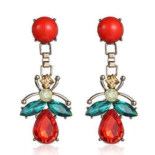 eManco Pendientes colgantes de tuerca para mujer animal resina cristal roja pendientes largos para mujer regalo para el día de la madre joyas de verano