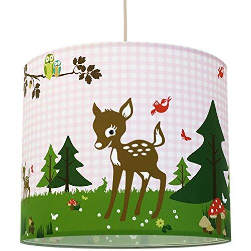 anna wand Lampenschirm REHNATE & FRIENDS ROSA - Schirm für Kinder / Baby Lampe mit Rehkitzen und Waldtieren in versch. Farben – Sanftes...
