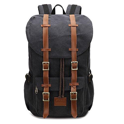 Fresion Canvas Rucksack mit 2 Seitentaschen Laptop Tasche Reise Rucksack Schultasche Trekkingrucksäcke für Wandern Camping (Canvas Schwarz)