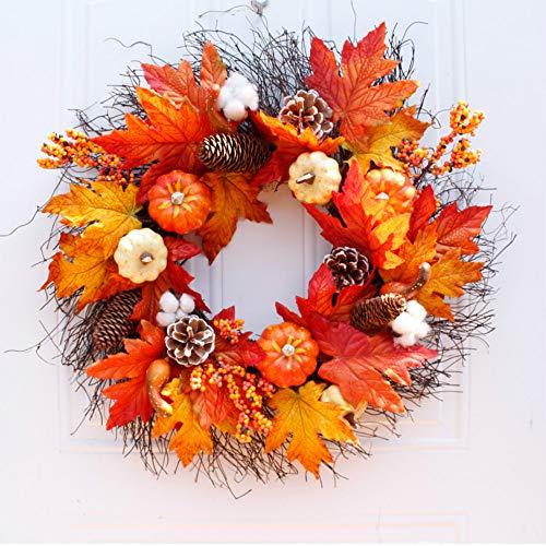 flanze Europäischer und Amerikanischer Kürbis Ahornblattkranz Thanksgiving Halloween Türdekoration 55cm ()