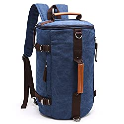 Fresion Multi-function Vintage Canvas Rucksack Hiking Travel Military Backpack Messenger Tote Bag For Women & Men (Dark Blue)