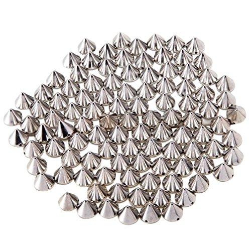 AIYUE 100 PCS DIY Nieten Silber Acryl Bullet Spike Perlen Nieten DIY Kleider Bra Deko Punk Handwerk Dekoration Taschen/ Schuhe/Jacken/Kleidungsstücke Nähen Kleber auf zur Verschönerung