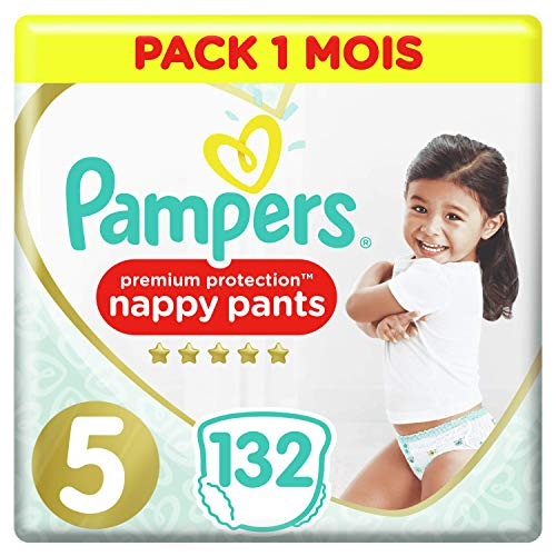 Pampers Premium Protection Pants T5, 132 Couches-Culottes, Pack 1 Mois