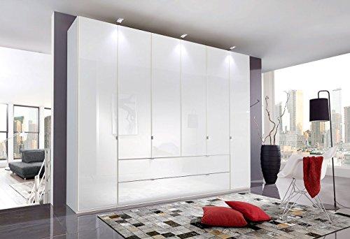 Kleiderschrank, Drehtürenschrank, Drehtürenkleiderschrank, Schlafzimmerschrank, Schranksystem, Wäscheschrank, Glas, weiß, alpinweiß, Schrank