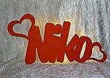 Schlummerlicht24 Led 2 Herzen Liebe Liebesbeweise mit Namen und Hochzeit-Datum Verlobung Jahrestag Hochzeits-Geschenke Ich liebe Dich Wohnzimmer Schlafzimmer-Lampe Nachtlicht Freund Freundin Partner