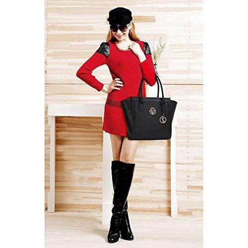 TrendStar Damen Schultertragetaschen Damen Neue Promi Stil Designer Kunstleder Handtaschen Schwarz 2