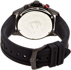 Wenger 77053 - Reloj analógico de caballero de cuarzo con correa de silicona negra de Wenger