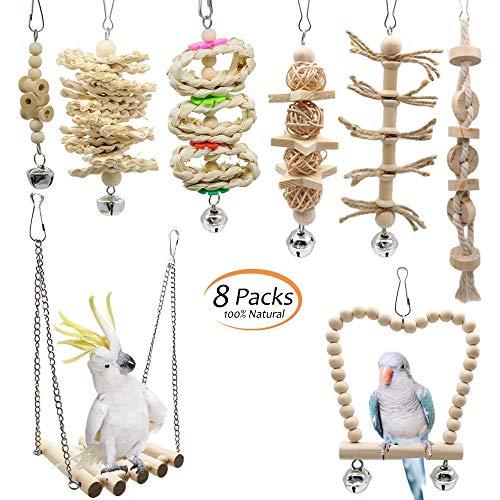 Creatiees 8 Stück Vogel Papagei Glöckchen Swing Spielzeug, Vogelspielzeug Kauspielzeug aus Naturholz Hängematte für Kakadus, Sittiche, Käfigspielzeug, Nymphensittiche, Conures, Love Birds, Finken