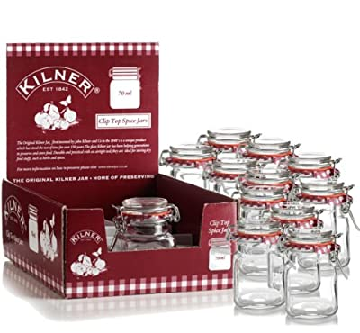 12 New Kilner Vintage Square Glass Clip Top Airtight Spice Herb Storage Jam Jars