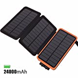 FEELLE Solar Charger 24000mAh Solar Power Bank with 3 Solar Panels Waterproof Portable Solar External Battery Charger for iPhone, iPad, Android Phone, Outdoor