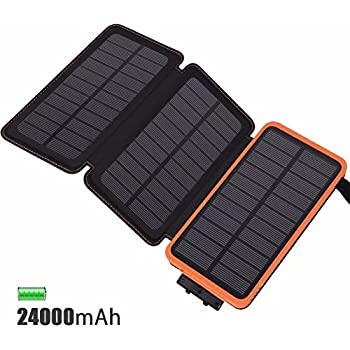 Solar Ladegerät Powerbank 24000mAh Feelle Wasserdicht Power Bank With 3  Solarzellen Für IPhone, IPad, Samsung, Huawei Und Andere Geräte (Orange  24000mAh)
