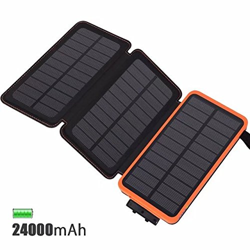 FEELLE Solar Charger 24000mAh, Portable Power Bank 3 Solar Panels Fast Charging External Battery Double USB 2.1A Output Compatible Smartphone, Tablet more Outdoor Waterproof