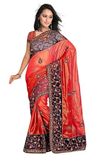 Coral color resham embroidered work shimmer sarees