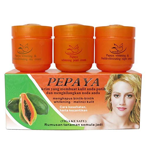 Pore Cleansing Wipes (Allouli Pack of 3 Papaya Whitening Creams Set Freckle Removal Cream Day Night Pearl Moisturizer Anti Aging)