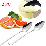 SMILEQ Home Thick Stainless Steel Grapefruit Spoon Dessert Spoon Serrated Edge Picnic Serrated Spoon (A 2PCS)