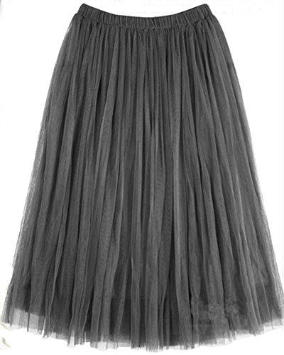 Damen Elastische Taille Faltenrock Langrock Maxi Rock Prinzessin Tutu Röcke Grau