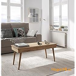 Hogar24-Table basse relevable design vintage, en bois massif naturel, fabrication artisanale. 100 cm x 50 cm x 47 cm