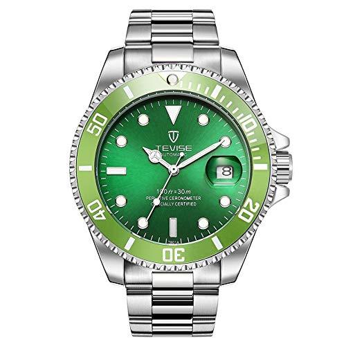 HermosaUKnight TEVISE T801 Men Automatic Watch Meccanico Moda Impermeabile Luminoso Watch-Silver Band (quadrante Verde)