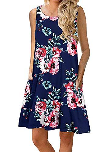 OMZIN Damen Sommer Taschen Fit Ausgebrannt Swing Strand Shirt Kleid Kleid für Damen,Blau,M - Tüll Mantel