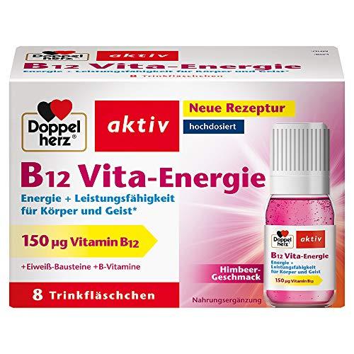 Doppelherz B12 Vita-Energie Trinkfläschchen - Energie und Leistungsfähigkeit für Körper und Geist - Vitamin B12 zur Verringerung von Müdigkeit und Erschöpfung - 8 x 10 ml Fläschchen