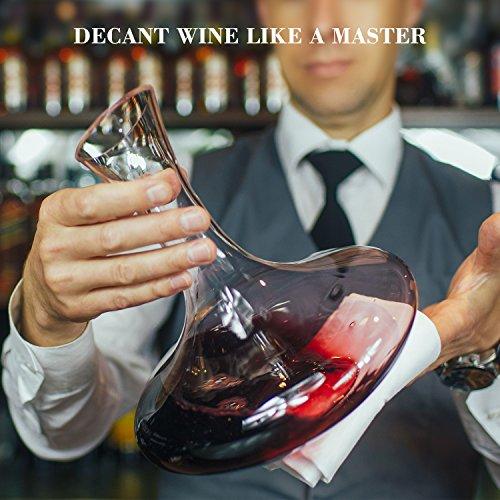 Doctor Hetzner Dekantierer,Weinkaraffe 100% Bleifreie,Kristall Dekanter Rotwein Karaffe - 1800ml - 5