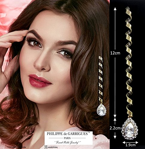 Deluxe Hair Accessories–33Small Hair Spirals for High-End Long Swarovski Crystal Spiral Vintage White Surrounded by Swarovski Crystals.