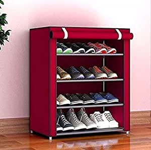 Aysis Multipurpose Portable Folding Shoes Rack 4 Tiers Multi-Purpose Shoe Storage Organizer Cabinet Tower with Iron and Nonwoven Fabric with Zippered Dustproof Cover(Maroon)
