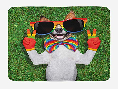 JIEKEIO Pride Bath Mat, Funny Face Gay Dog Lying on Green Grass with Peace Signs and Giant Sunglasses Humor, Plush Bathroom Decor Mat with Non Slip Backing, 23.6 W X 15.7 W Inches, Multicolor -