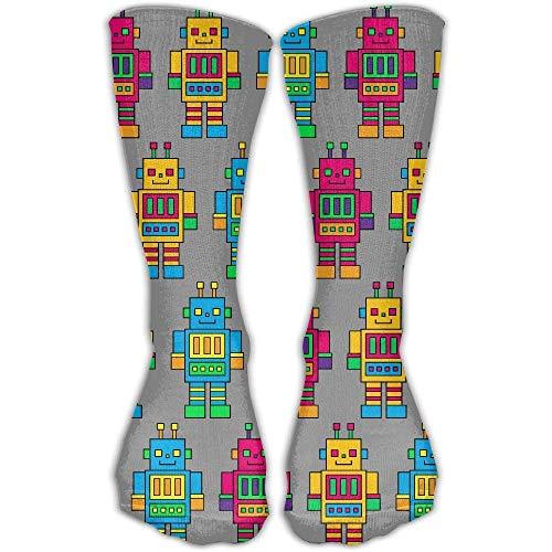 Beiläufige Erwachsen-Fußball-Fußball-Sport-Strümpfe ETcRe bunte Roboter-Muster-Mannschafts-Knöchel-Kleid-Mädchen-hohe lange Socken -