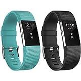 Fitbit Charge 2 Unisex Armband Zur Herzfrequenz Und Fitnessaufzeichnung, Teal, S, FB407STES-EU & Fitbit Standard Charge 2 Unisex Armband Zur Herzfrequenz Und Fitnessaufzeichnung, Schwarz, L, FB407SBKL-EU