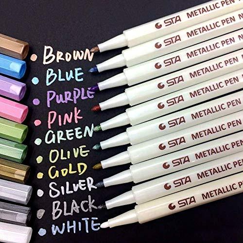 Karte Schwarz Und Weiß (DoDoLar Metallic Marker Pens Marker Stifte Set dünn 10 Farben Permanent Brush Pen für Geschenk kartenherstellung/DIY Fotoalben/Hochzeit/Papier/Glas/Glatte Oberflächen - 1mm Spitze)