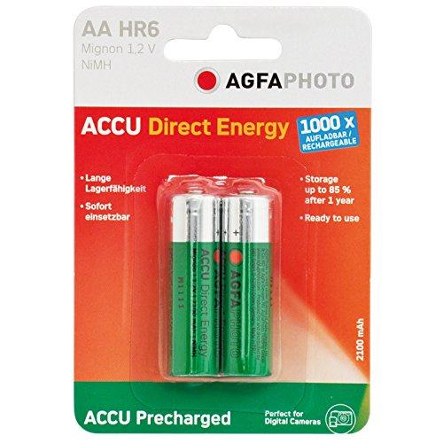 AgfaPhoto NiMh batterie AA 2100 mAh Direct Energy (2 pièces)