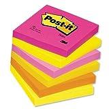Post-It 654TF Lot de 6 blocs repositionnables 76x76mm Tutti-frutti