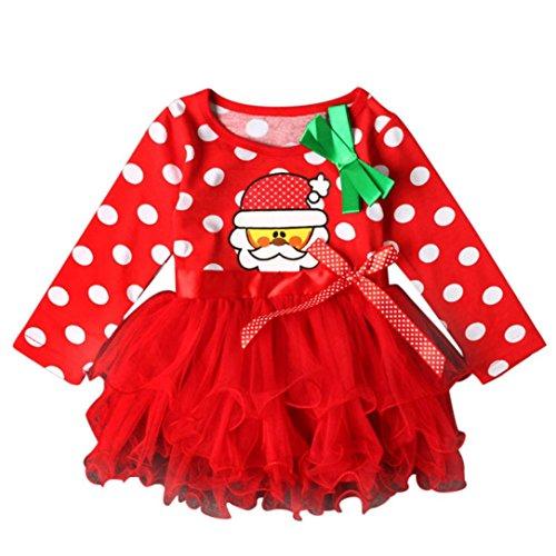der Langärmlige Kleidung Weihnachtsfeier Pageant Tutu Kleider Polka Dot Pullover Bow Ballkleid Kleider Blumenspitze Prinzessin Hochzeit Partykleid Taufkleid Tüll (Red, Size:3-4T) (Kleinkind Halloween Kostüme Ideen Junge)