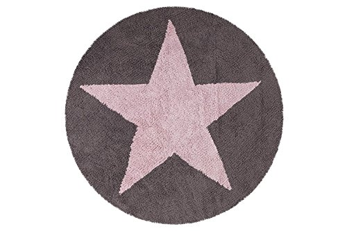 EN SOLDES - Tapis de sol enfant rond 140 cm réversible étoile rose et gris