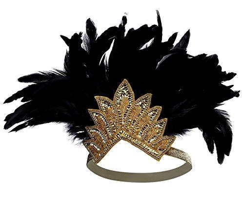 Stirnband Damen Fasching Kostüm Accessoires Flapper 20er Kopfschmuck Karneval Zubehör (Gold Schwarz Stil 2) (Gold Und Schwarz Flapper Kostüme)