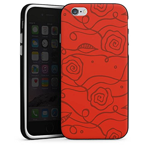 Apple iPhone 4 Housse Étui Silicone Coque Protection Fleurs roses Amour Rouge Housse en silicone noir / blanc