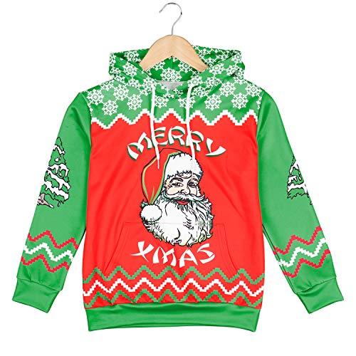 9595ef0c2d660 Rave on Friday Pull Noel pour Filles Garçons Pull Capuche de Noel Christmas  Père noël Graphique