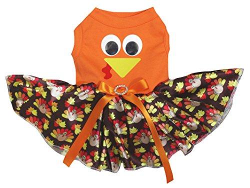 eidung Hund Kleid Türkei Face Orange Top Türkei Dots Tutu (Hund Türkei Kostüm)