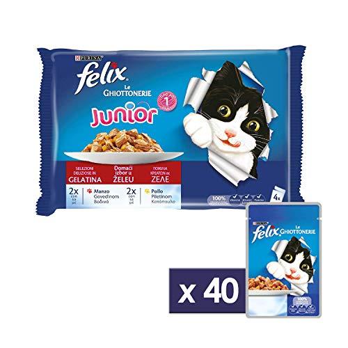 Felix Purina Ghiottonerie Umido Gatto Junior con Manzo e con Pollo, 40 Buste da 100 g Ciascuna, 10 Confezioni da 4 x 100 g