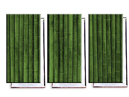 Bambus Wand - Dreiteiler (120x80 cm) - Bilder & Kunstdrucke fertig auf Leinwand aufgespannt und in erstklassiger Druckqualität - Insel Bambus-rahmen