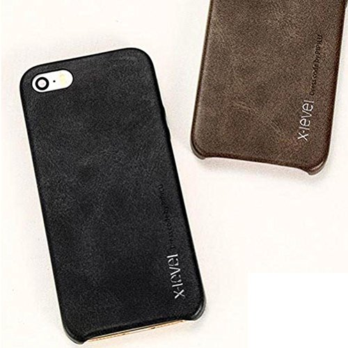 MOONCASE IPhone 5 / 5S / iPhone SE Hülle, Jahrgang Prämie PU Leder Hart PC Handy Schutz Tasche Schutzhülle Case für iPhone 5G / 5S / SE Schwarz Braun