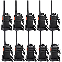 Retevis RT24 Plus sans Licence Talkie Walkie Professionnel Rechargeable PMR446 Radio Bidirectionnelle Scan Surveillance 16 Canaux 50CTCSS 210DCS avec Écouteurs (Noir,10 pcs)