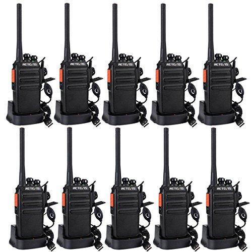 funkgeraete mit headset Retevis RT24 Plus PMR Funkgeräte Set 16 Kanäle UHF Lizenzfrei Funkgeräte Walkie Talkie Wiederaufladbar USB Ladeschale für Logistikunternehmen Hotel Restaurant Supermarkt (Fünf Paar)