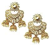 Mehrunnisa Pearls Kundan Earrings With T...
