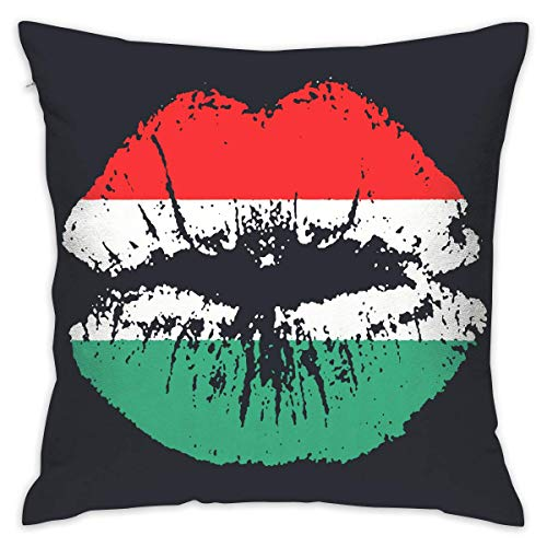 Pan American African Heritage Flag Colors Lips Soft Cushion Cover for Couch Sofa 18 X 18 Inches Insert Pan Cover